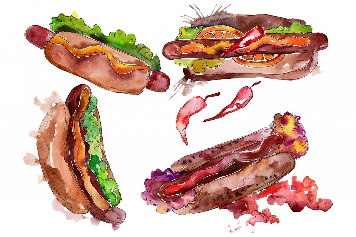 Hot-Dog With pepper Watercolor png example image 1