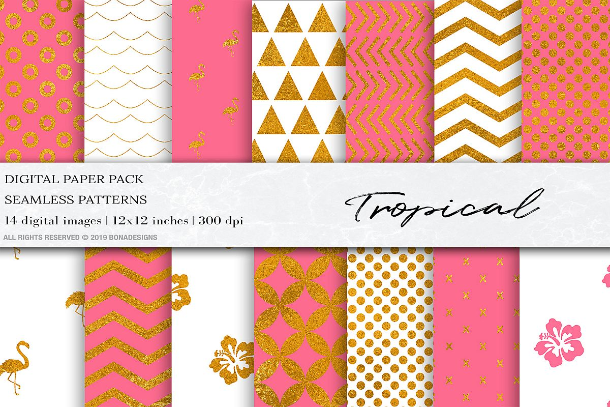 Tropical Gold Pink Digital Papers example image 1