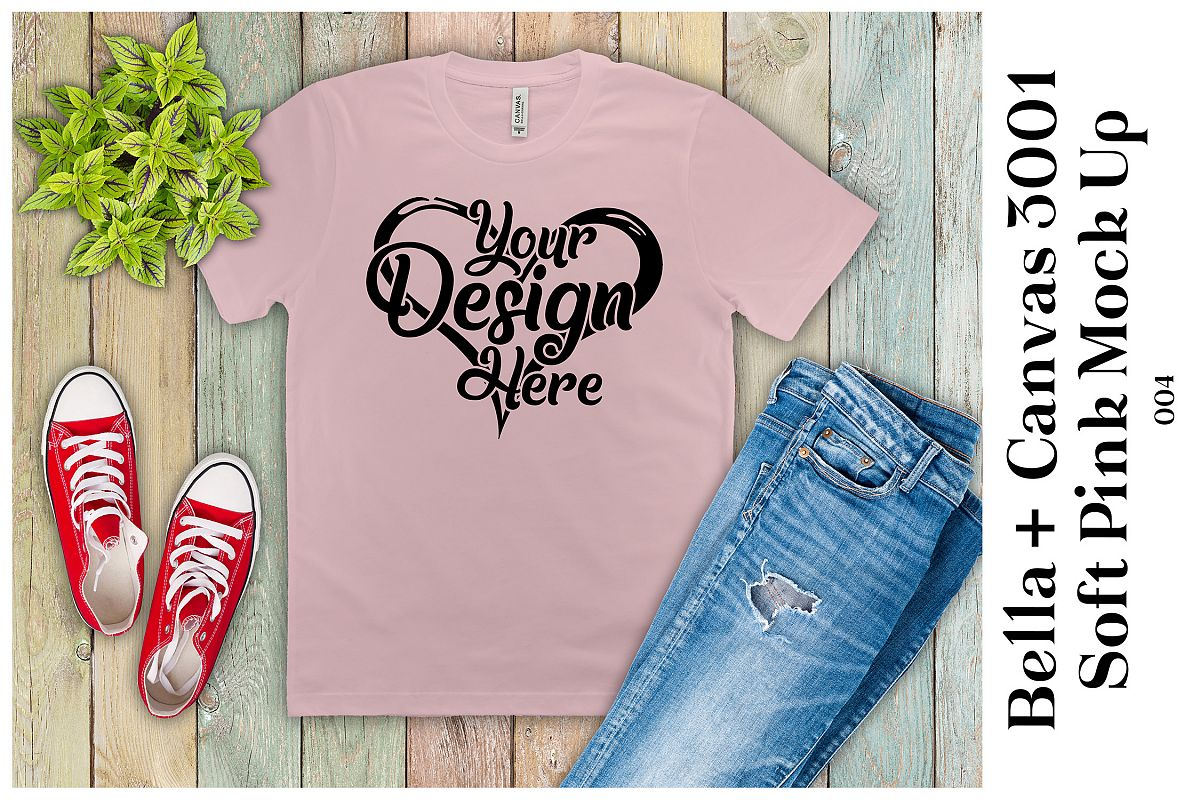 Mens T-Shirt Mockup Soft Pink Bella Canvas 3001 Mock up example image 1