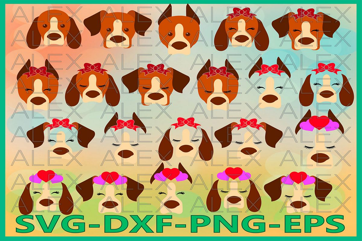 Dogs Face Svg, Animals with a bow, Dogs svg, Eyelashes Svg example image 1