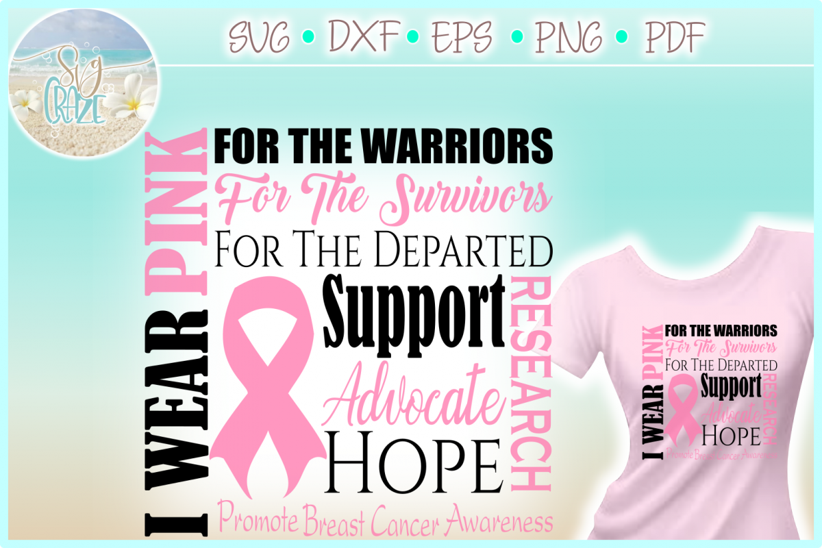 I WEAR PINK Breast Cancer Awareness SVG DXF EPS PNG PDF file example image 1