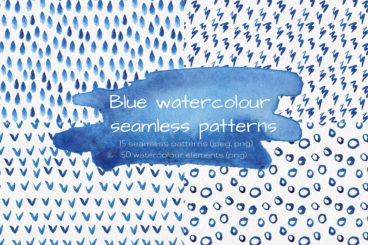 Blue watercolour seamless patterns set. example image 1