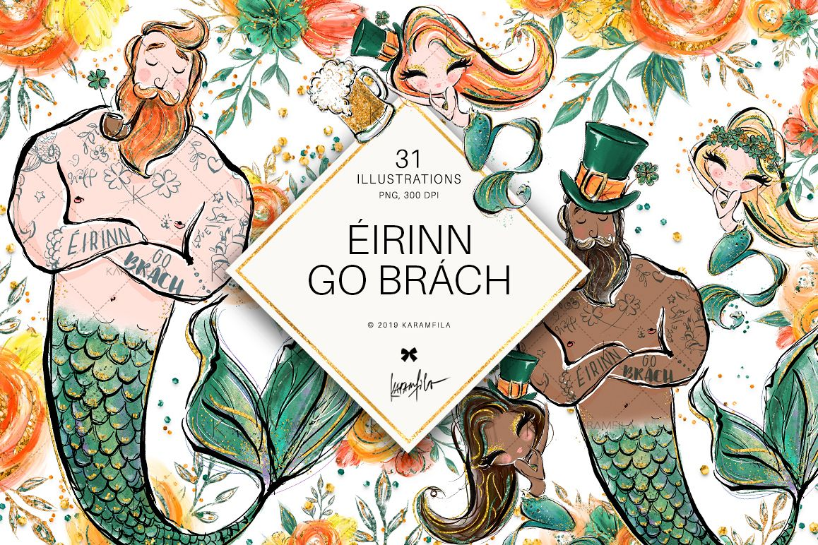 St Patrick's Mermaids Clipart example image 1