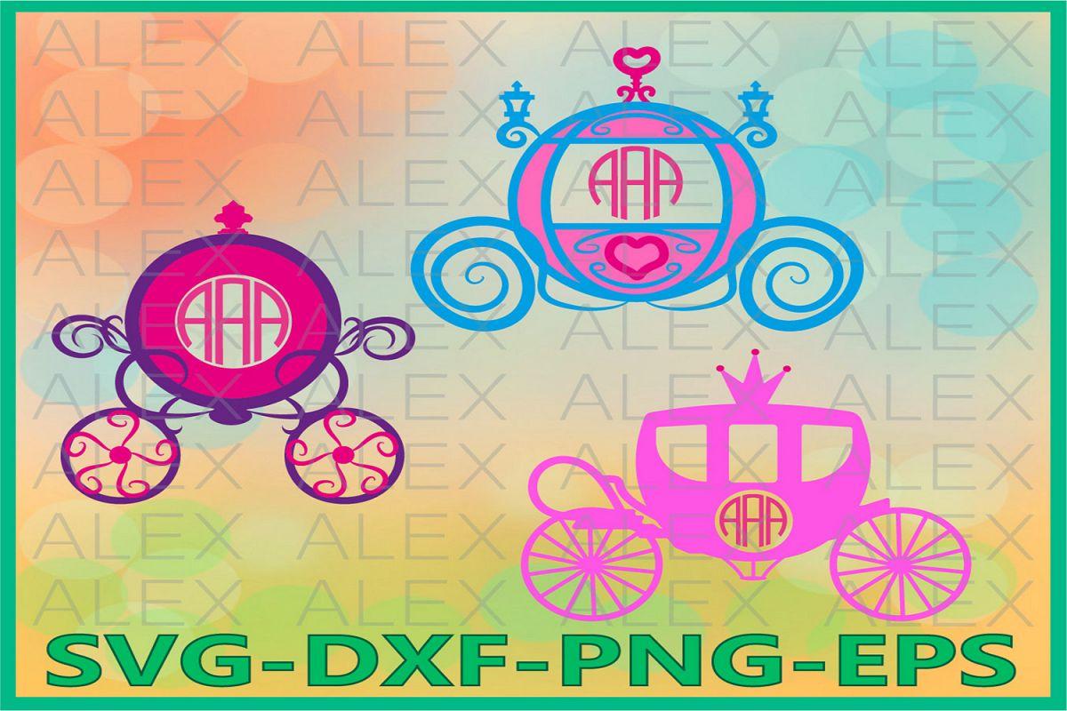 Princess Carriage Monogram Files, Princess svg Files example image 1