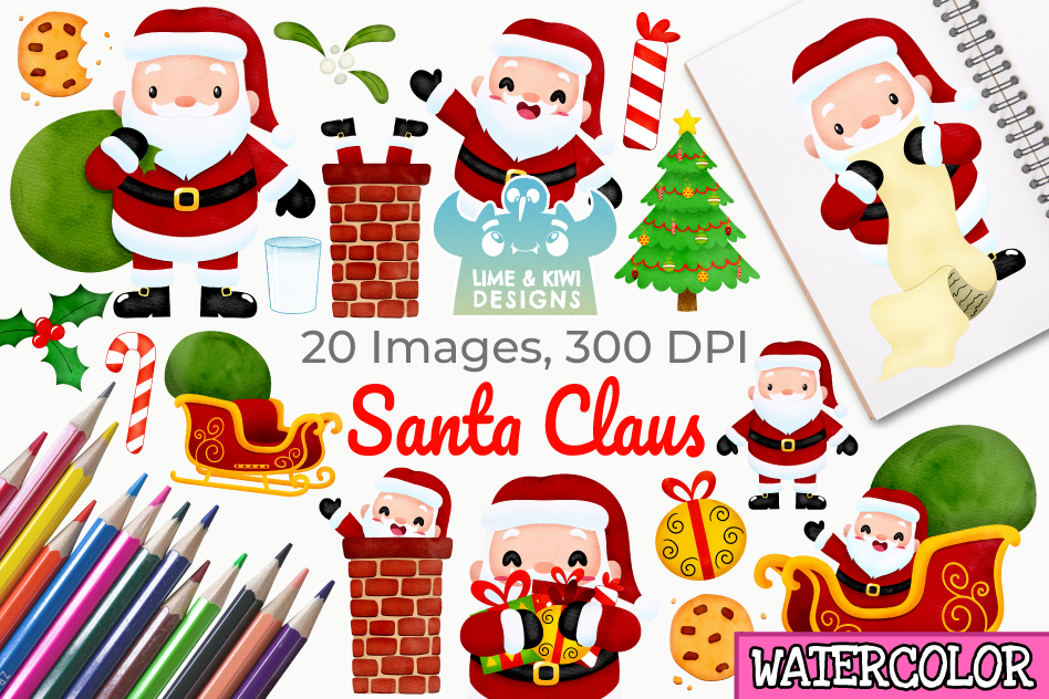 Santa Claus Watercolor Clipart, Instant Download Vector Art example image 1