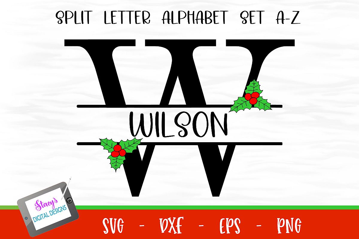 Split Letters A-Z - 26 Christmas split monograms with holly example image 1