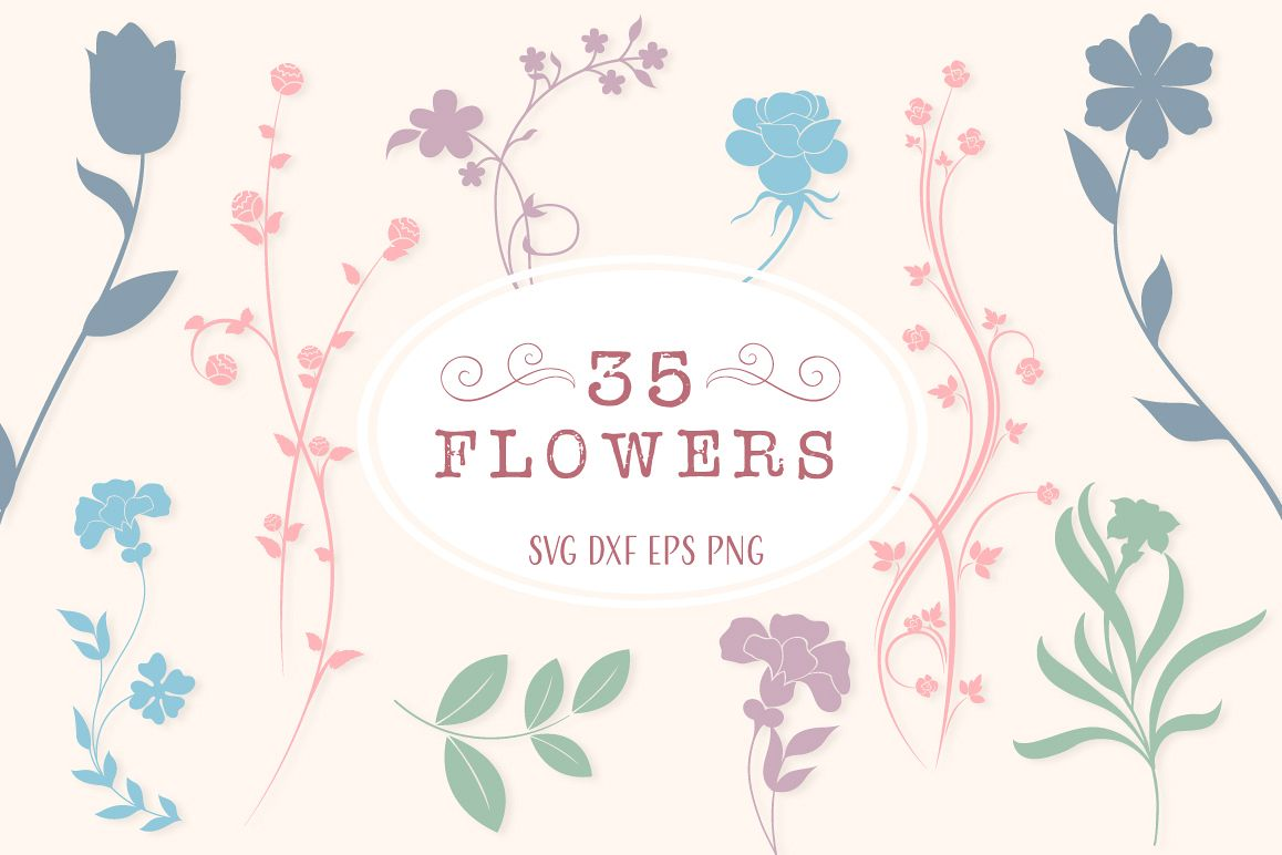 Floral Silhouettes SVG Cut Files Pack with 35 Items example image 1