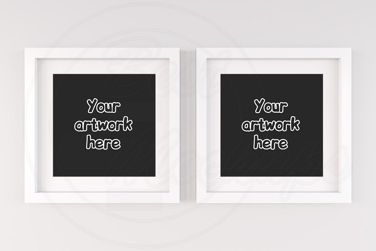 Kit of two square wall frame mockups example image 1