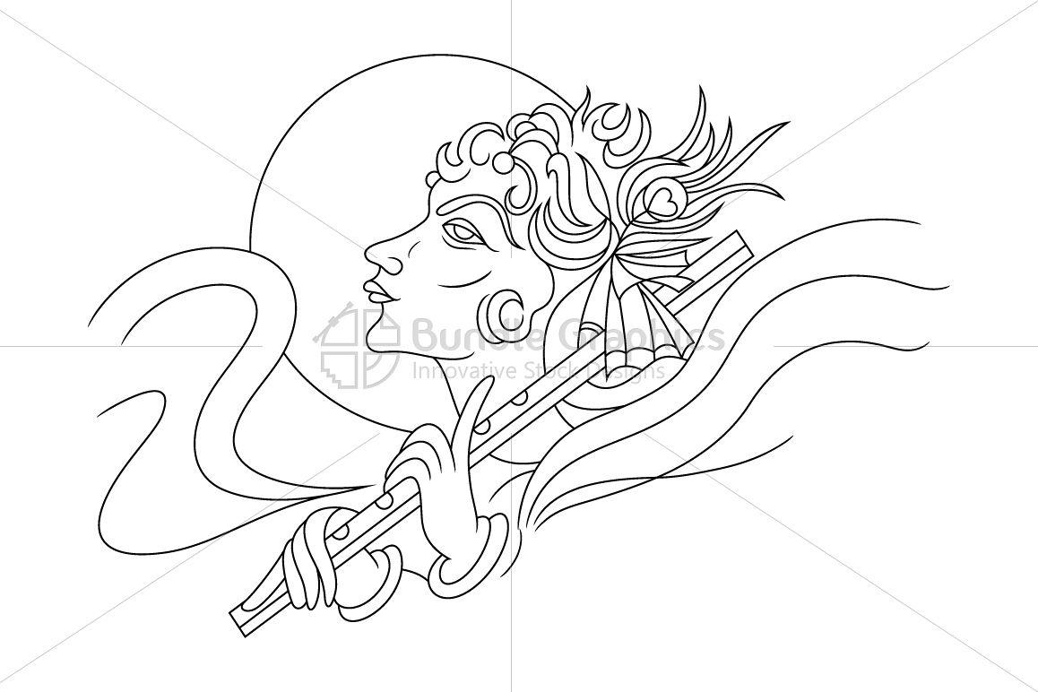 Krishna with Flute - Artistic Illustration example image 1