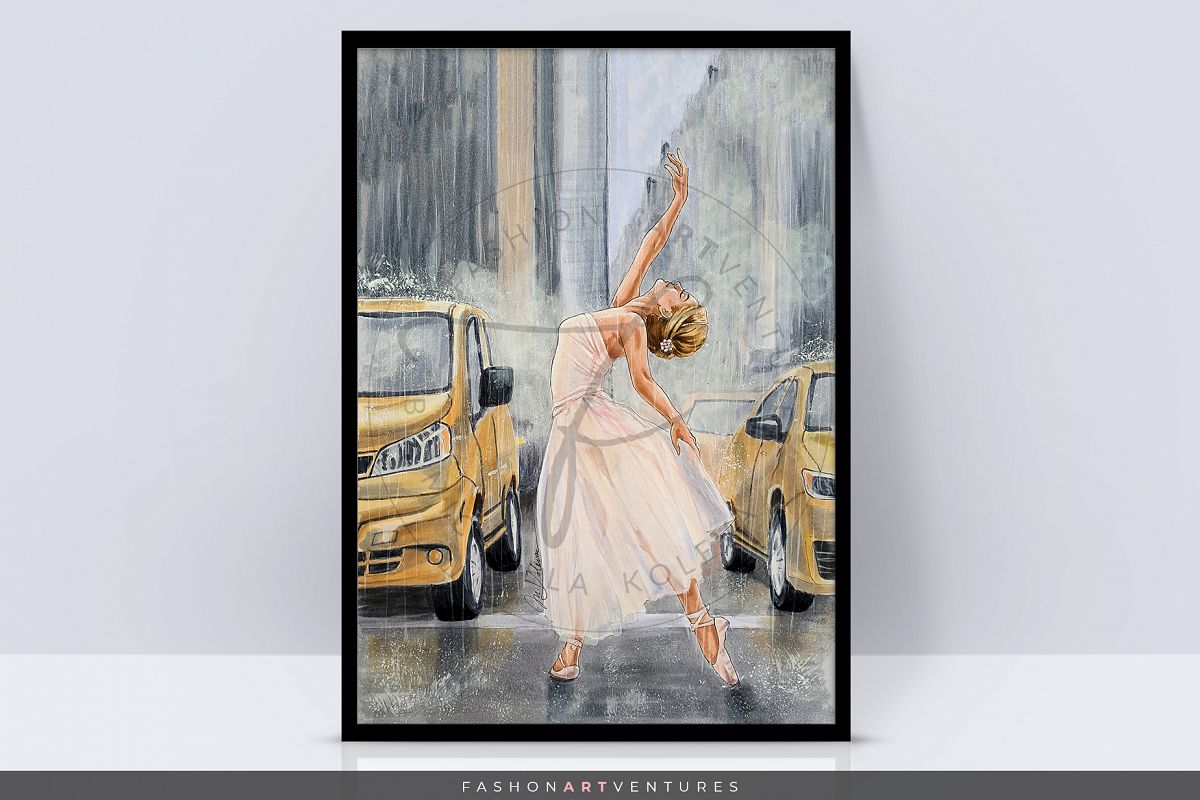 Dancing in the rain - hand-drawn Art print, ballerina art example image 1