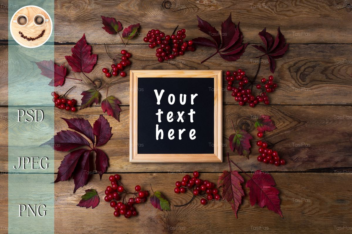 Rustic square frame mockup with viburnum berries example image 1