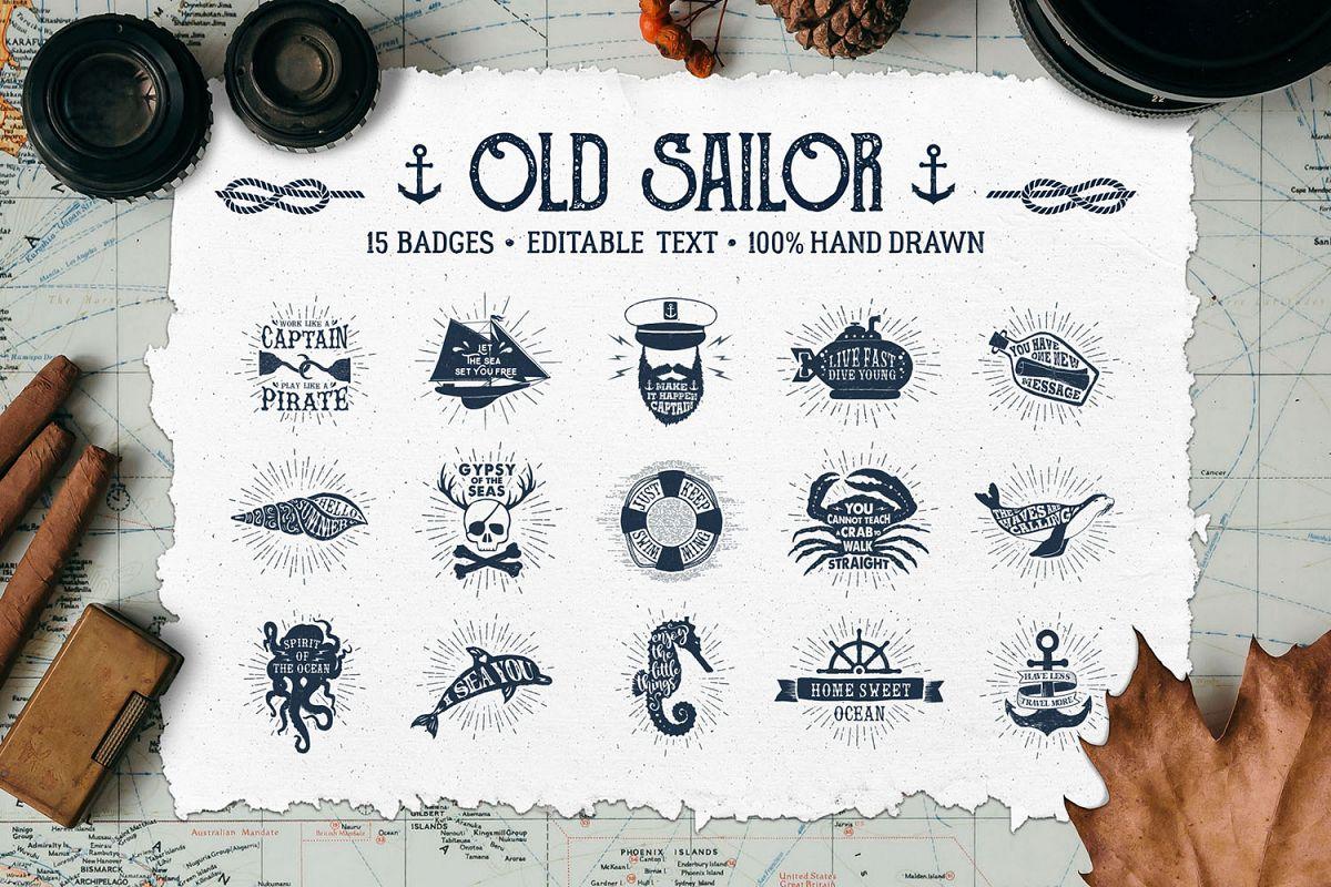 Old Sailor. Vintage Badges. Vol.1 example image 1