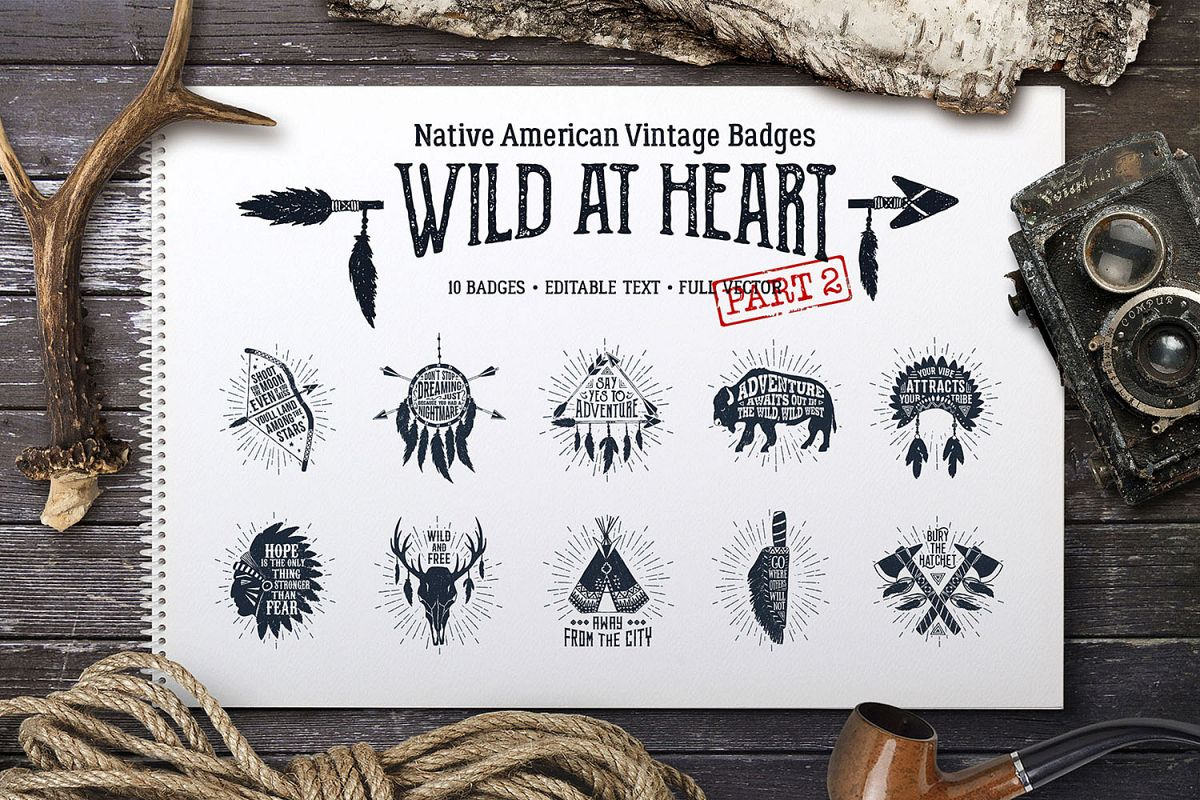 Wild at Heart. Native American Vintage Badges. Vol.2 example image 1