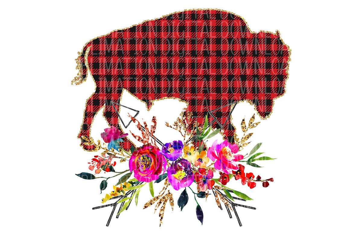 Floral Plaid Buffalo Sublimation Digital Download example image 1