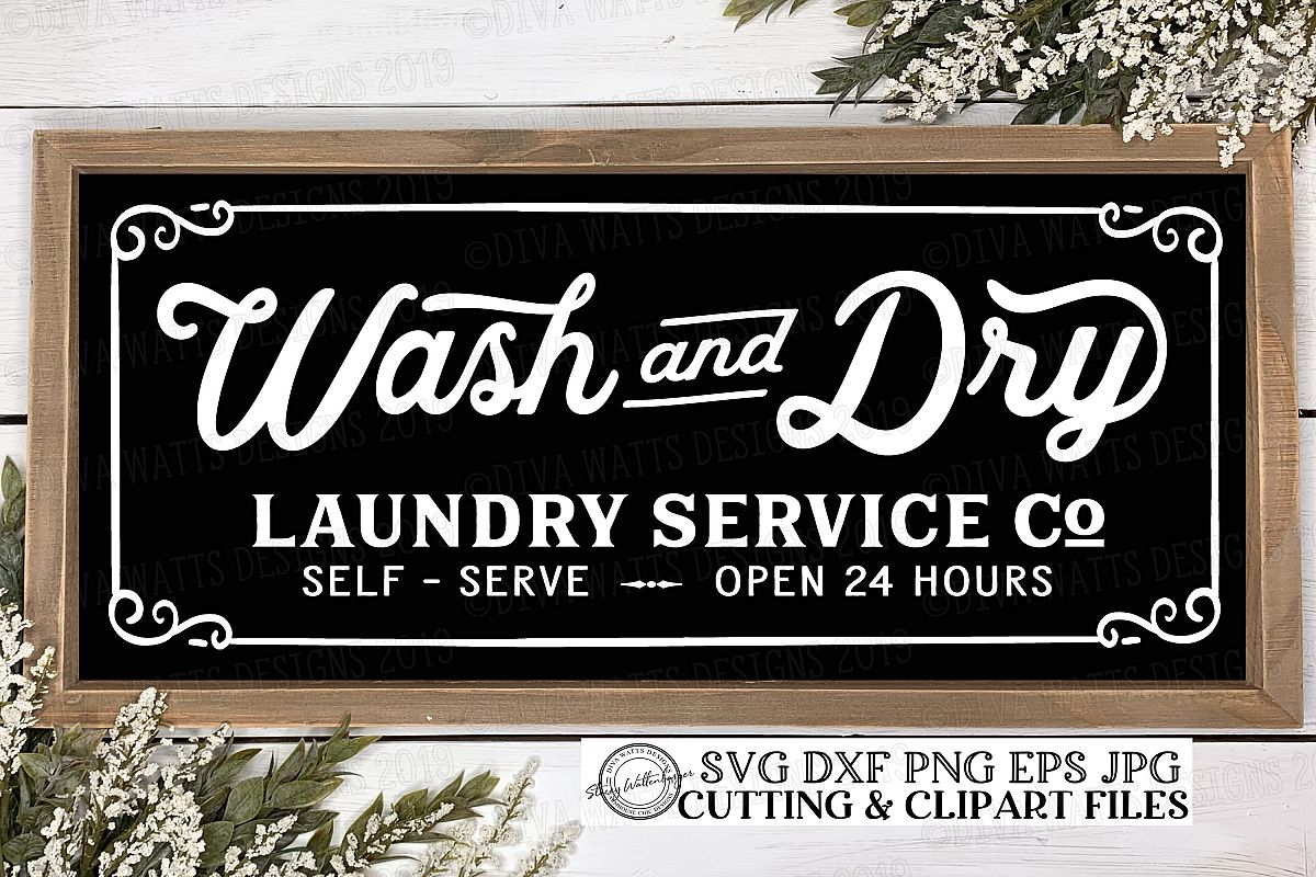 Wash and Dry Laundry Service Co Self Serve Cutting File example image 1