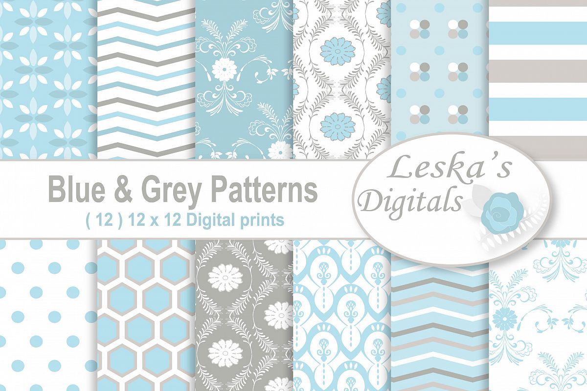 Sky Blue Digital Paper example image 1