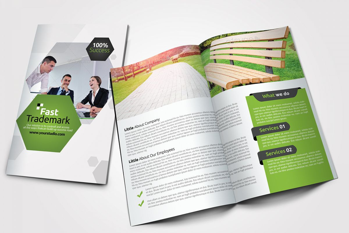Clean Business Bifold Brochure example image 1