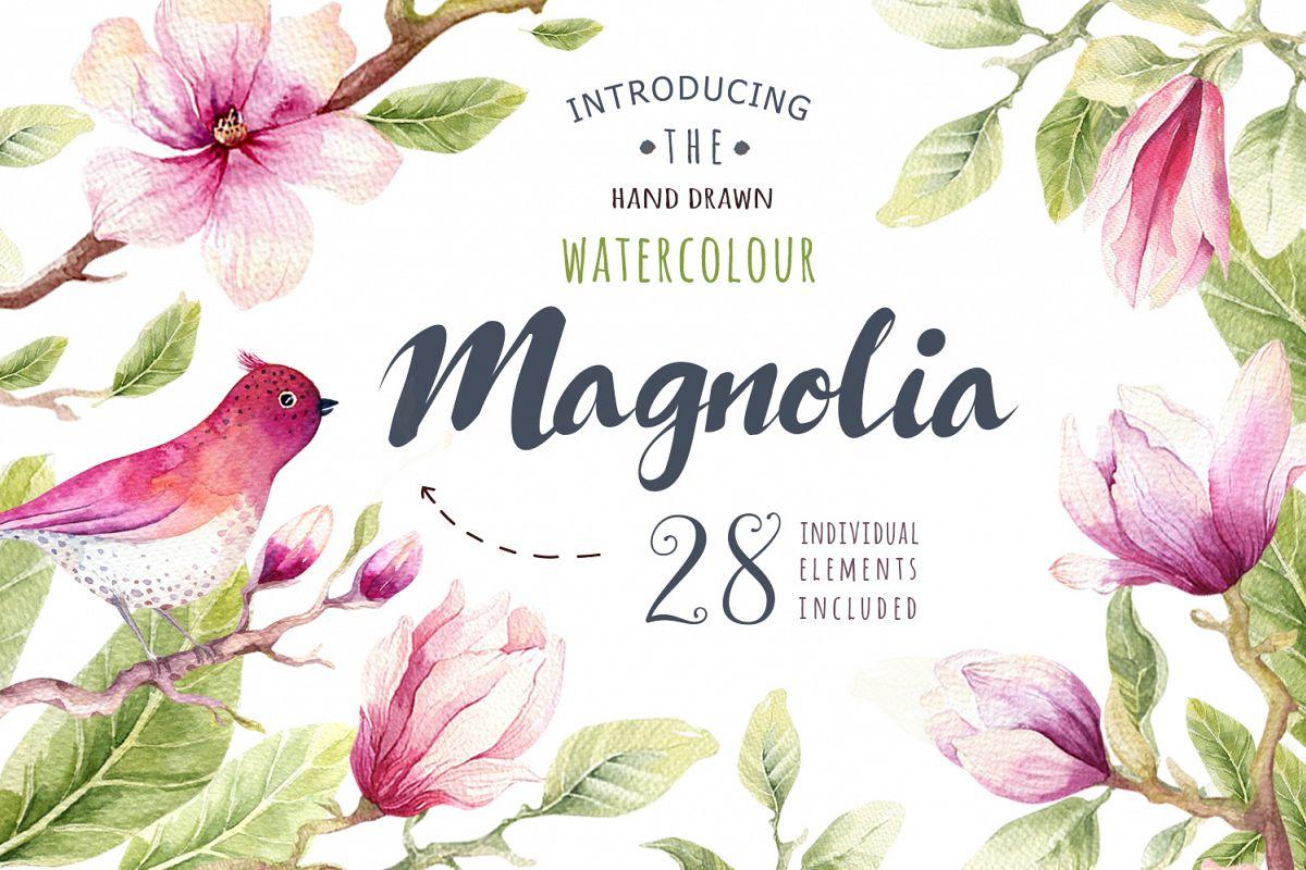 Watercolour magnolia and birds example image 1