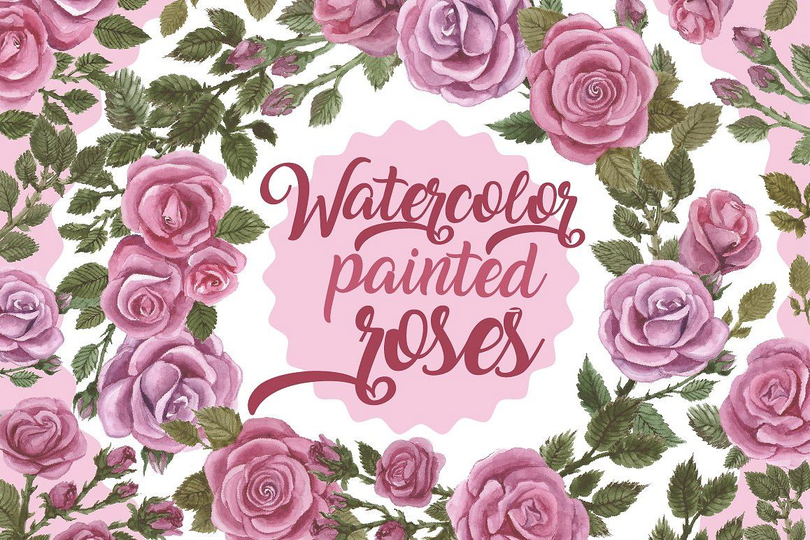 Watercolor painted roses example image 1