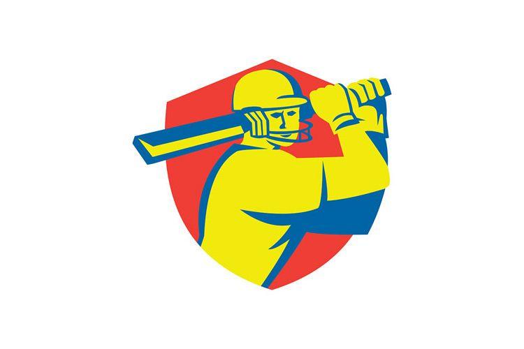 Cricket Player Batsman Batting Shield Retro example image 1