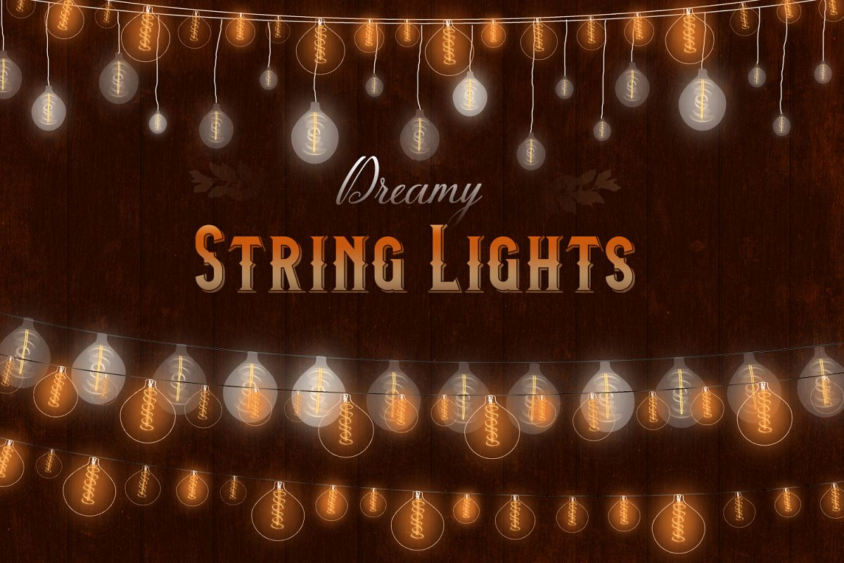 String Lights Clipart, Low Light Bulb, Gold Dreamy Lights example image 1