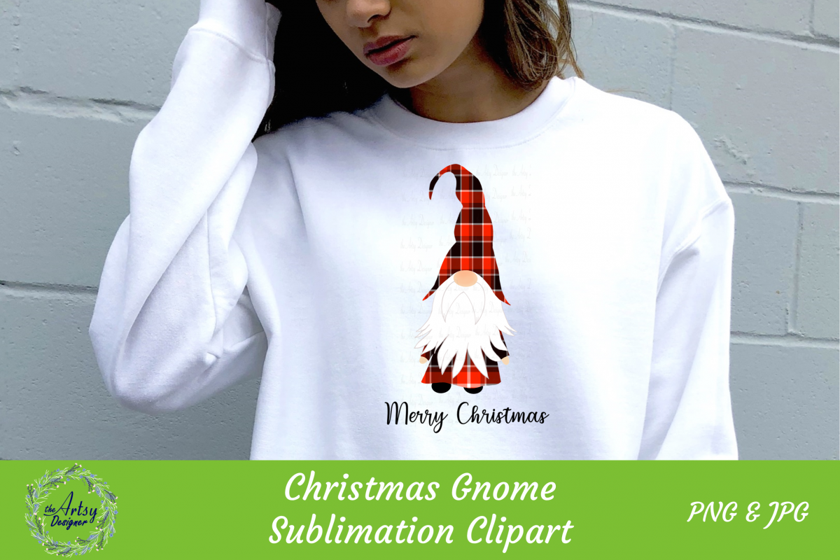 Merry Christmas Gnome Red Buffalo Plaid Sublimation ClipArt example image 1