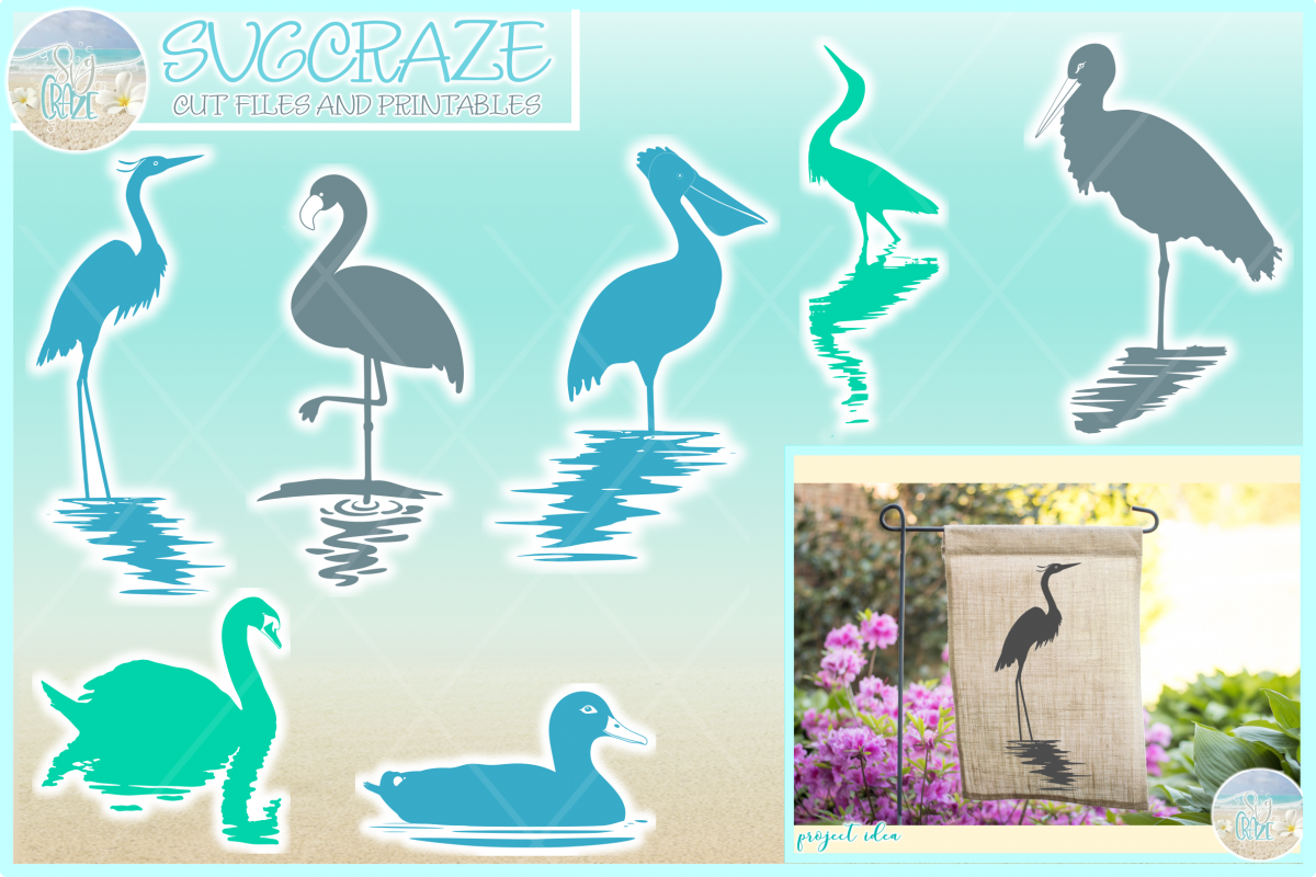 Birds In Water Silhouette Bundle Svg Dxf Eps Png PDF example image 1