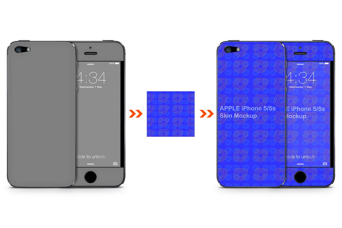 IPhone 5s 5 Mobile Skin Design Template Back Front View Example Image 1