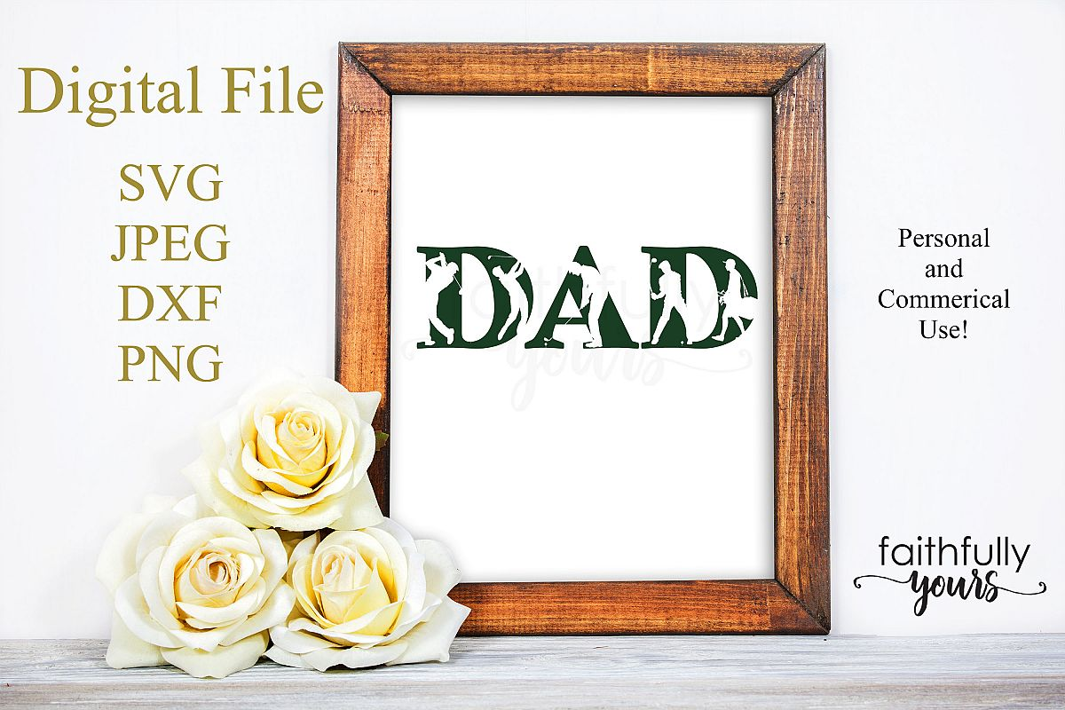 Dad with golfer and golfing cutouts SVG JPEG DXF PNG example image 1