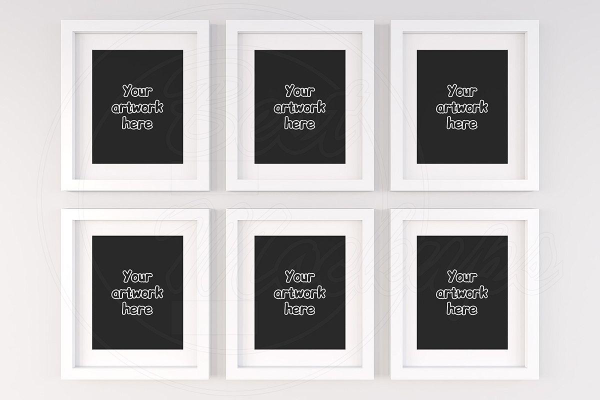 Set of 6 blank white frame mock ups example image 1