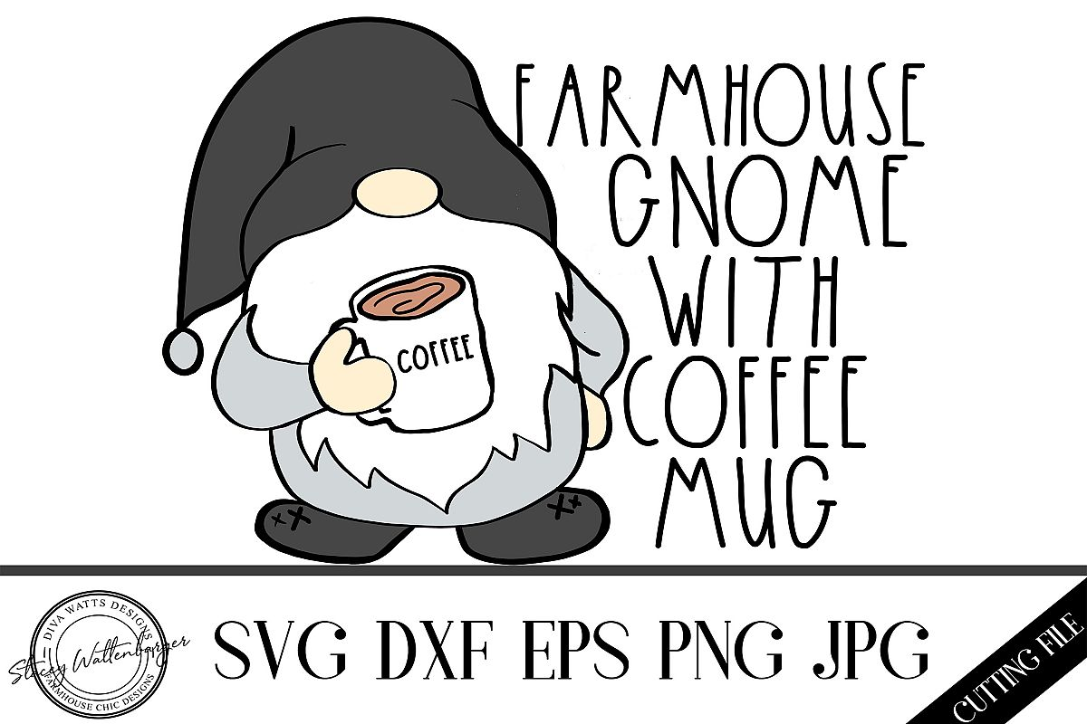 Farmhouse Gnome with Coffee Mug Cutting File example image 1