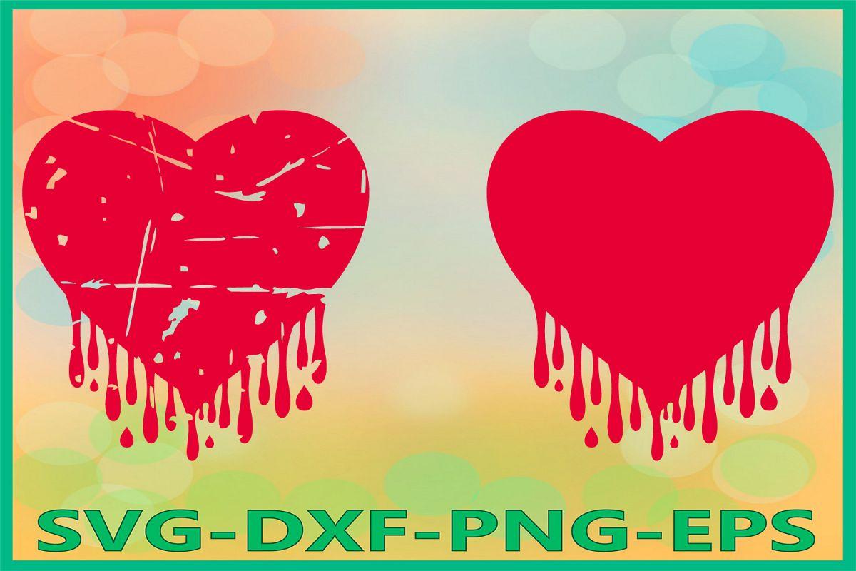 Bleeding Heart Grunge svg, Heart SVG, Dripping Hearts example image 1