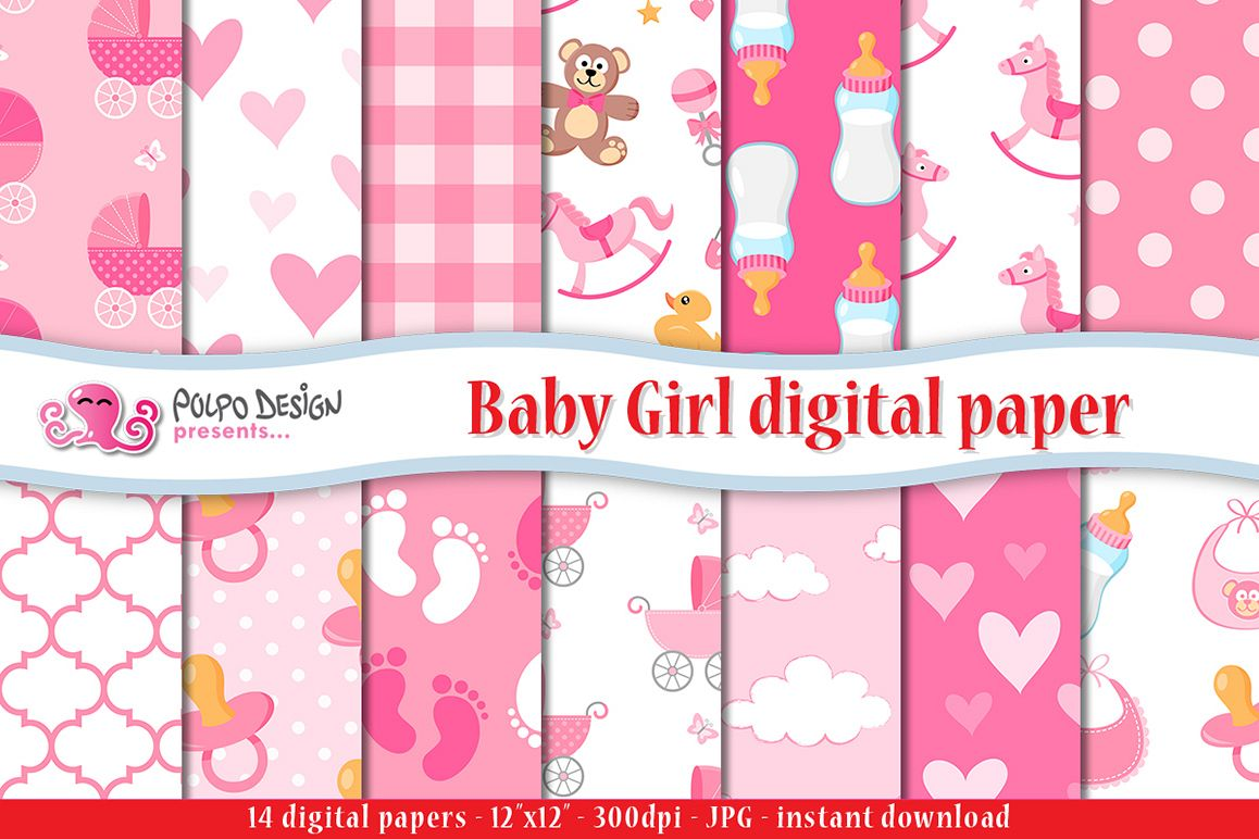 Baby Girl digital paper example image 1