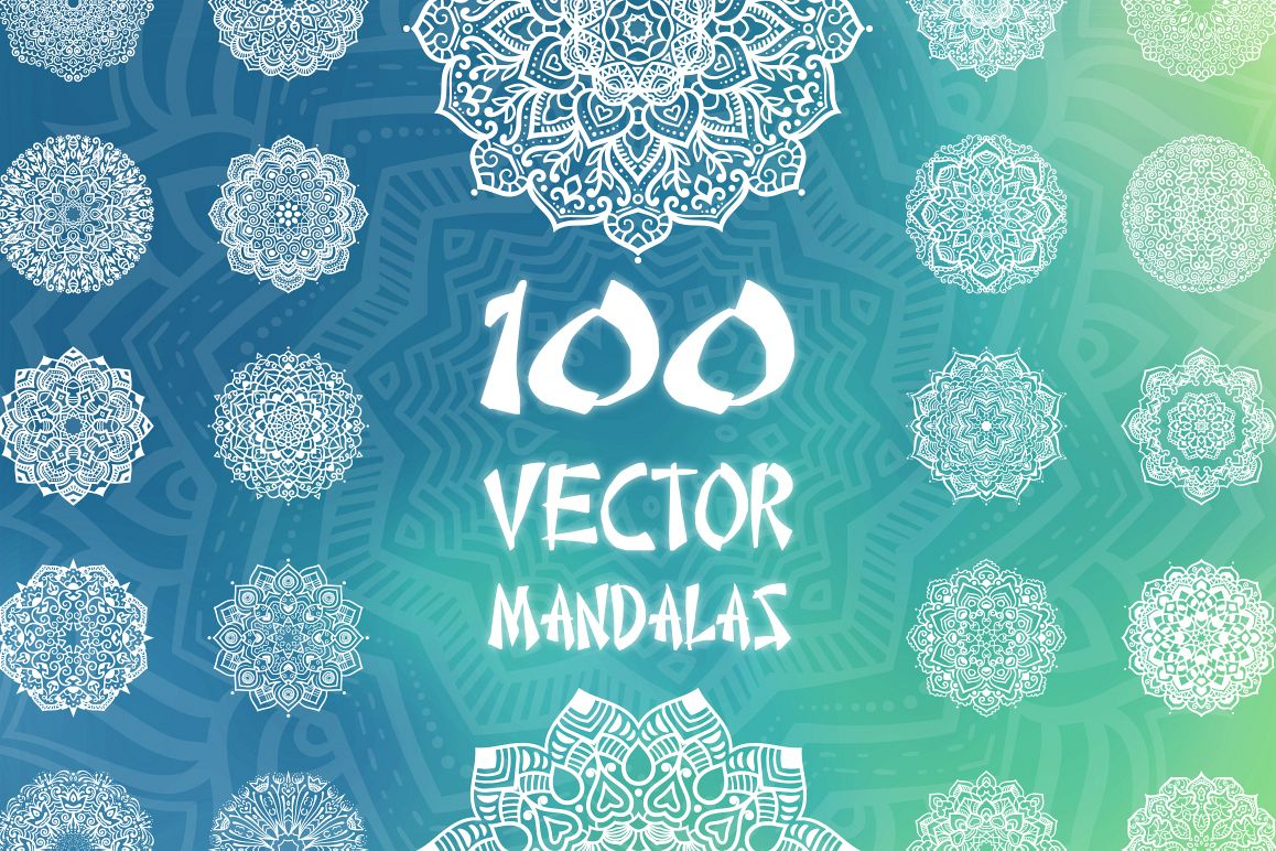 100 Vector Mandalas, Round Ornaments example image 1
