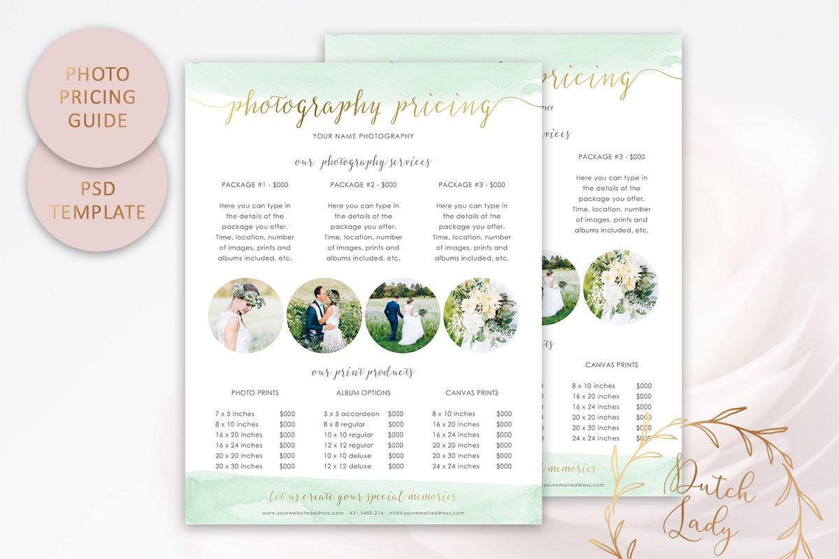PSD Photography Pricing Guide Template Design #9 example image 1