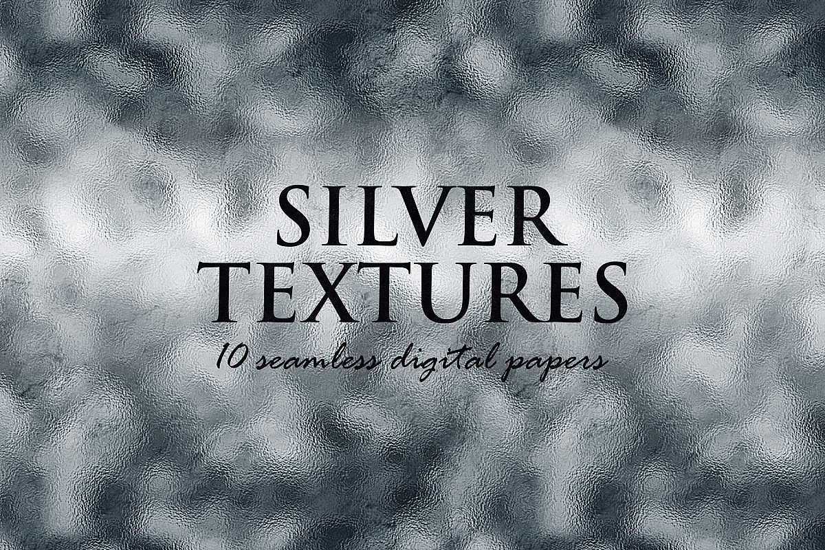 10 Silver Digital Papers - Foil and Glitter Textures example image 1