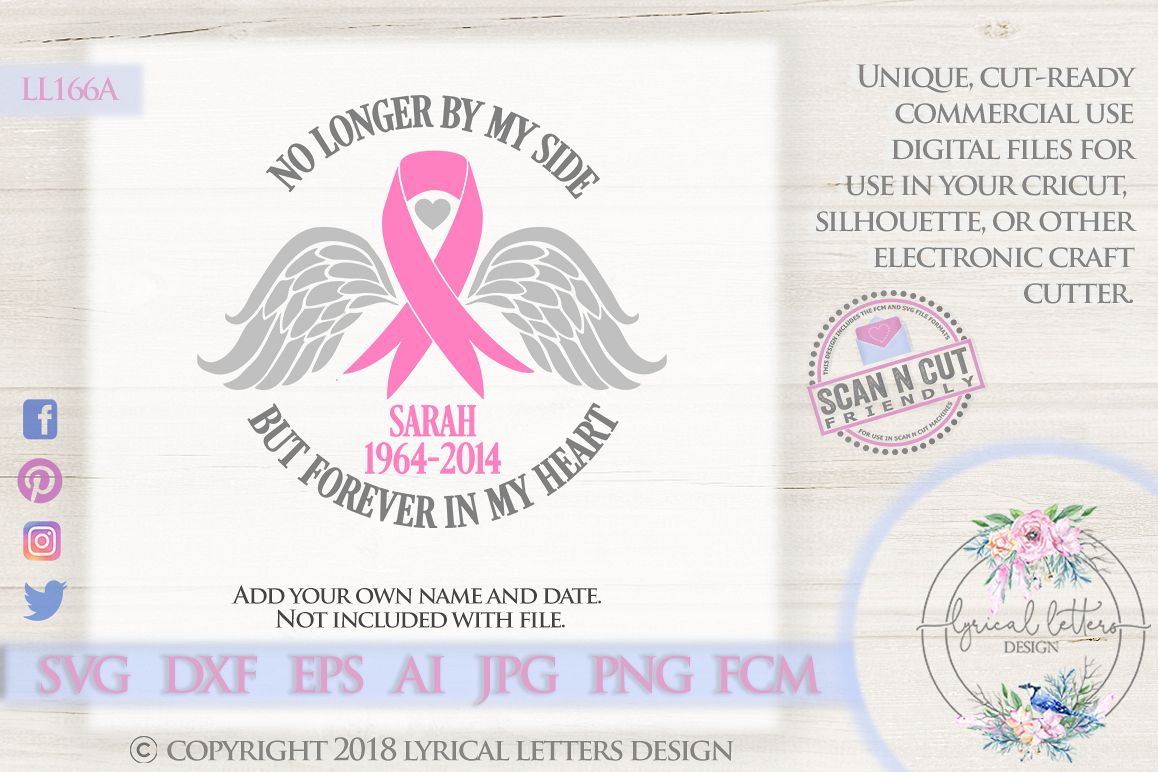 Cancer Memorial Pink Ribbon SVG DXF Cut File LL166A example image 1