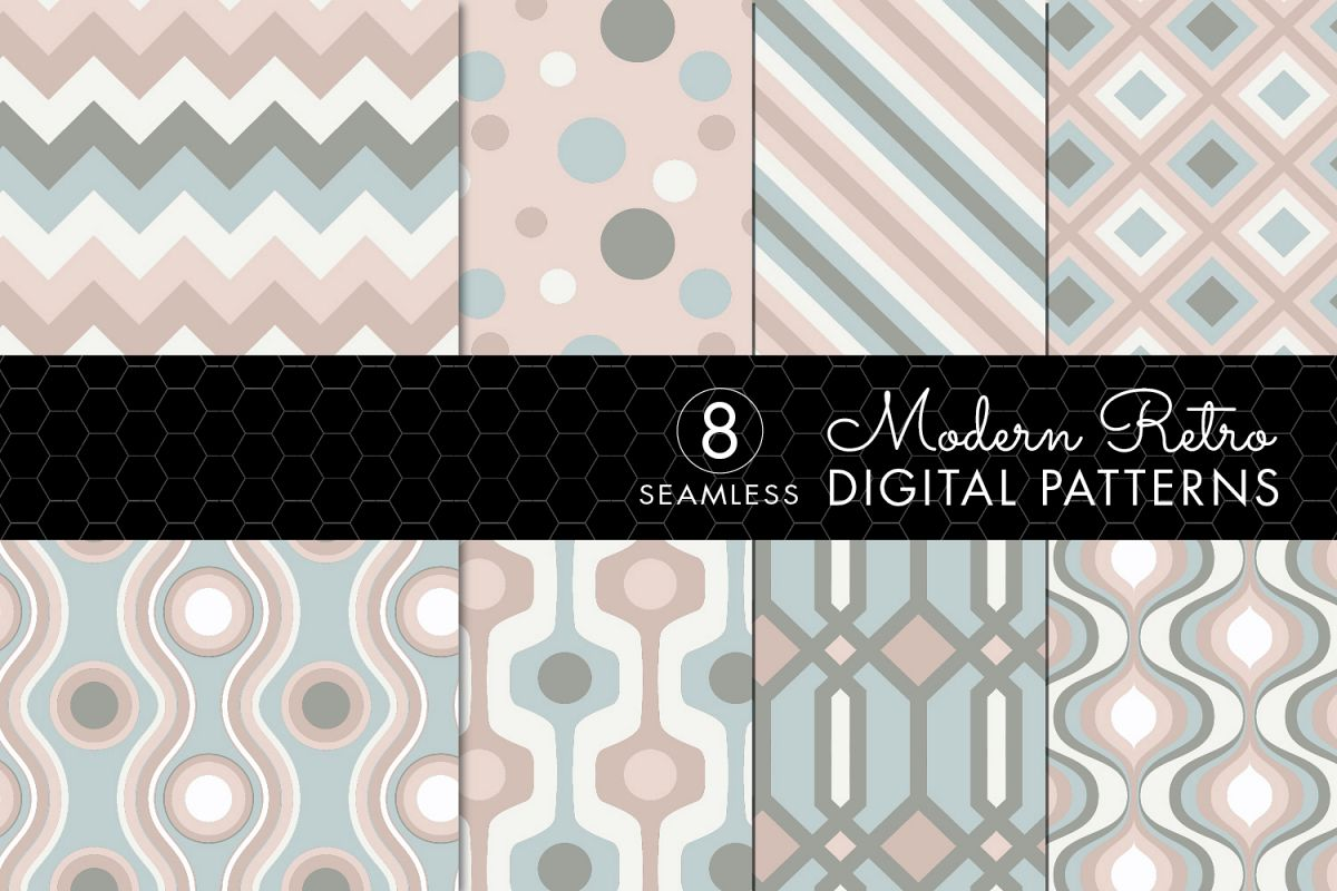 8 Seamless Retro Modern Patterns - Pink, Ivory & Green example image 1