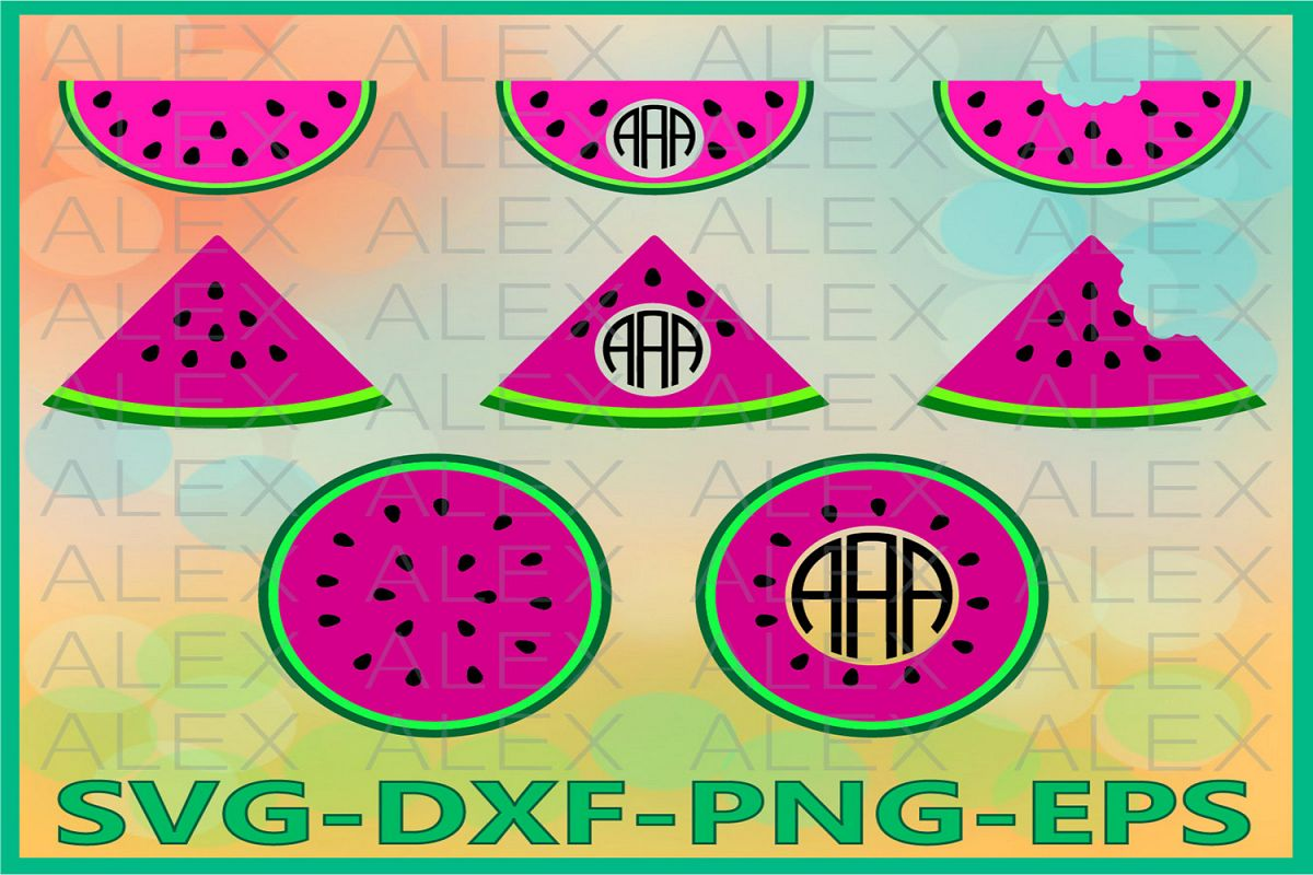 Watermelon SVG Files, Watermelons Monogram Svg Files example image 1