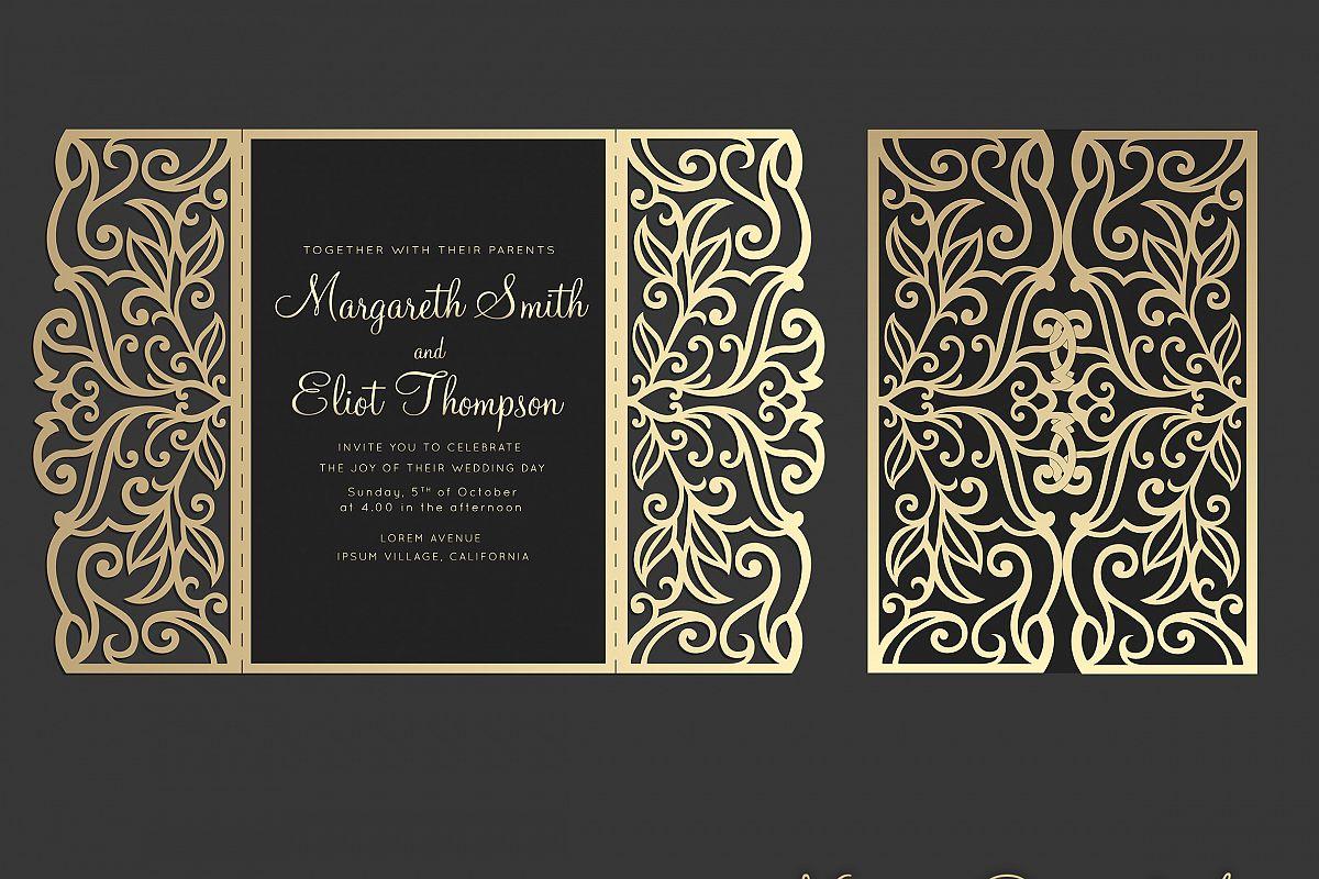 gate fold wedding invitation   5x7  cricut template  quinceanera card
