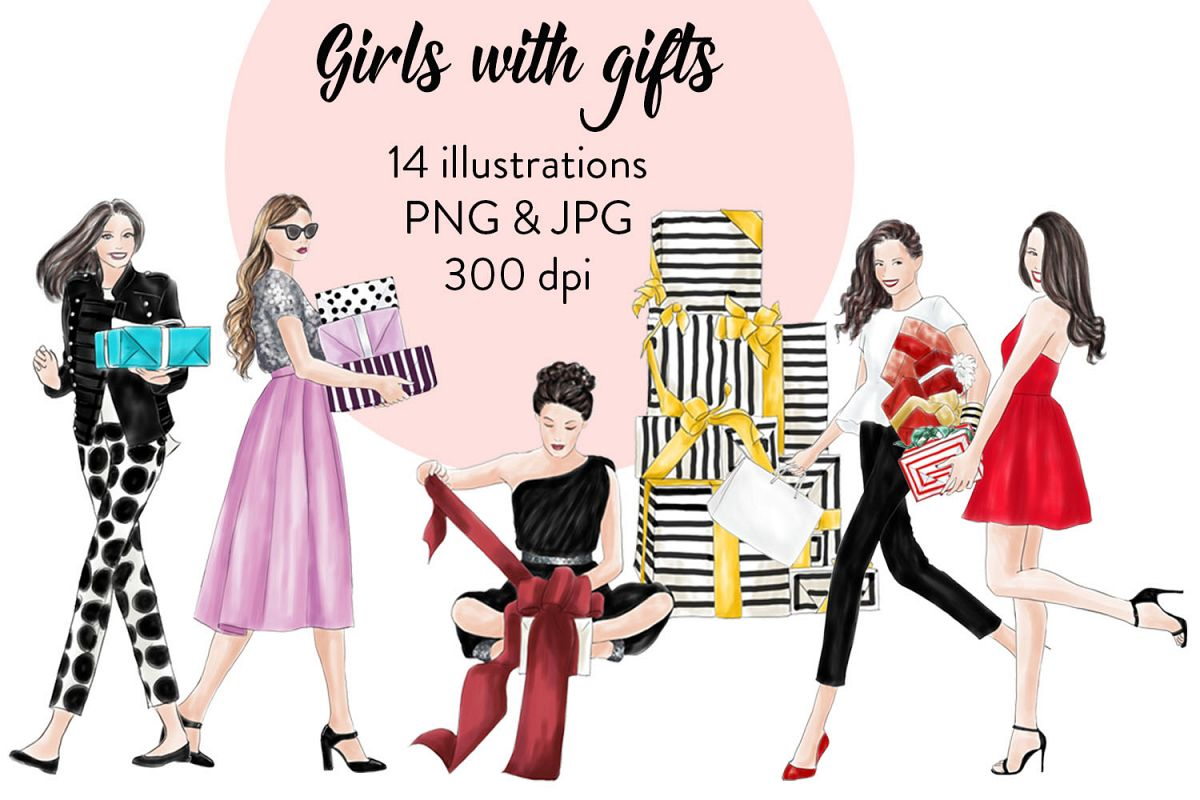 Girls with gifts fashion clipart example image 1