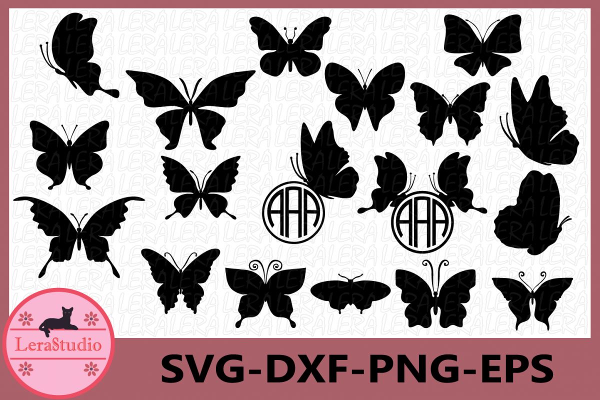 Butterfly SVG, Butterfly Monogram Frames, Silhouette Digital example image 1