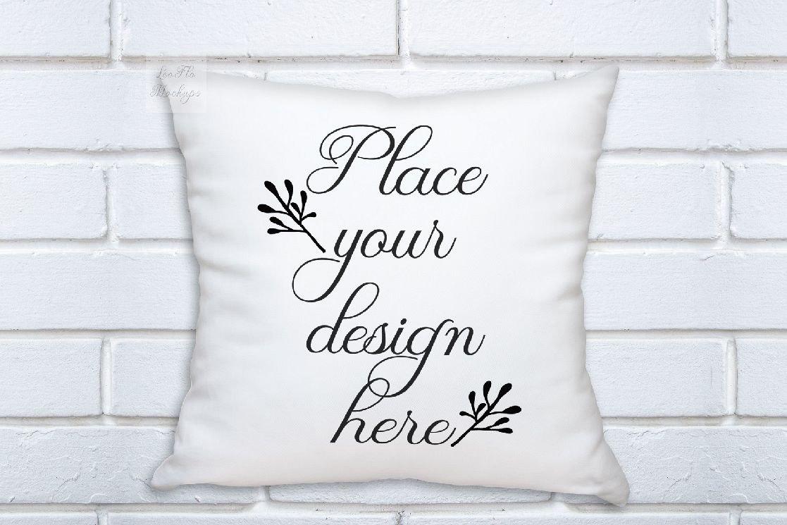 White pillow square mockup template white background mock up example image 1