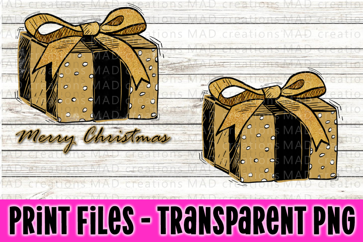 Christmas Present - Black and Gold - Print File example image 1
