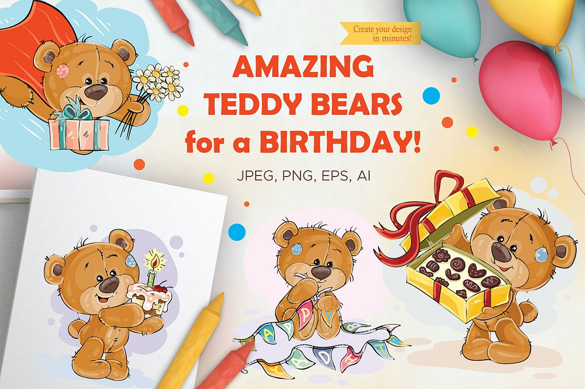 Lovely teddy bears. Happy Birthday. example image 1