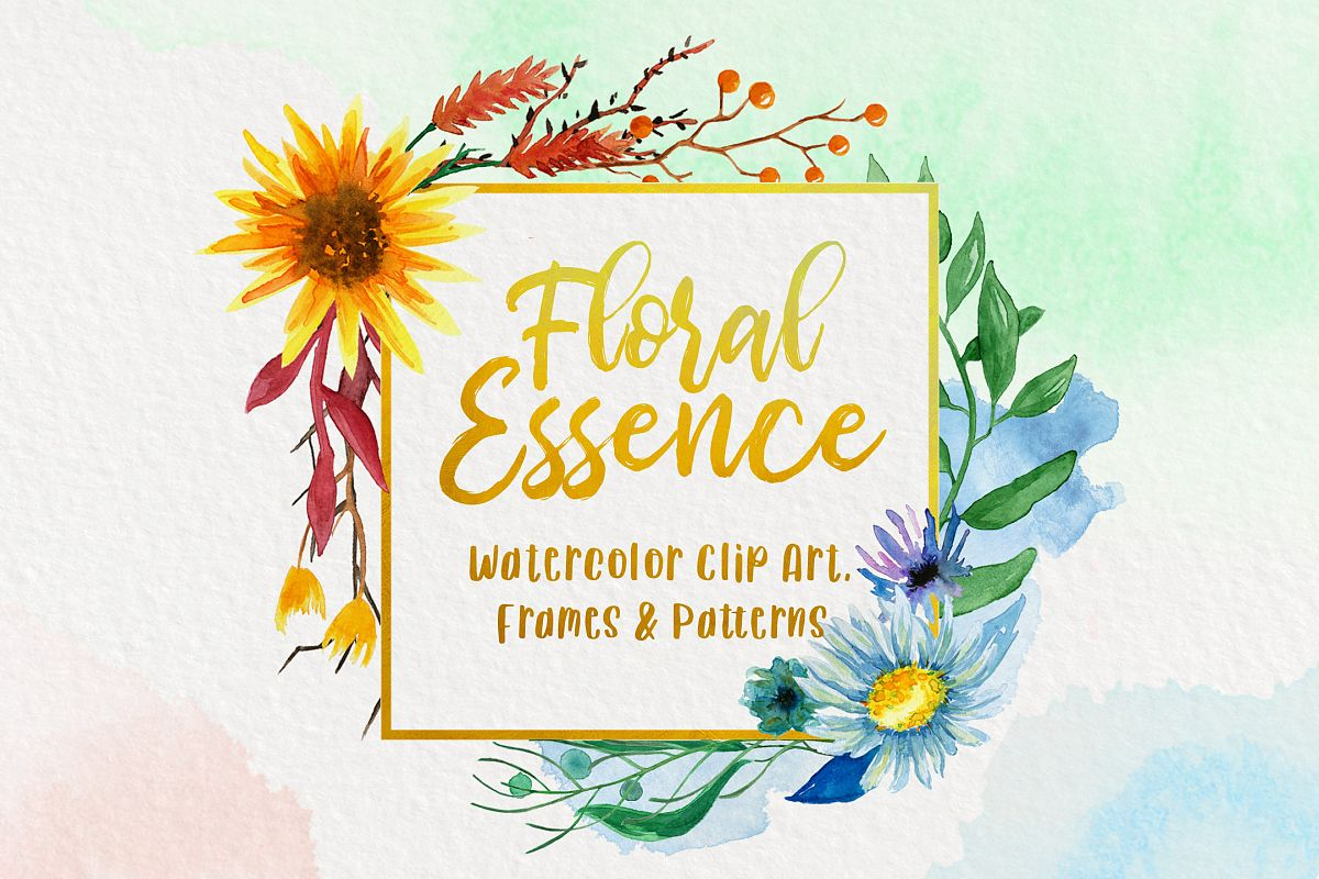 Watercolor Floral Essence Clip Art Pack example image 1