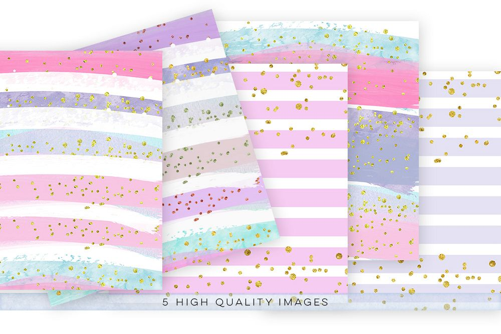 watercolor confetti paper, digital download watercolor confetti paper, watercolor digital paper pack, gold paper pack, rainbow paper example image 1