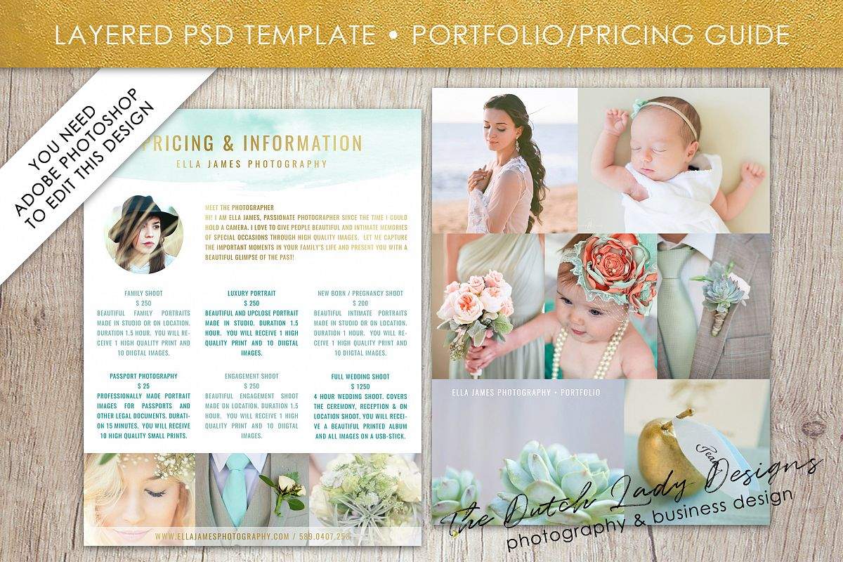 Photography Pricing Guide Template For Adobe Photoshop