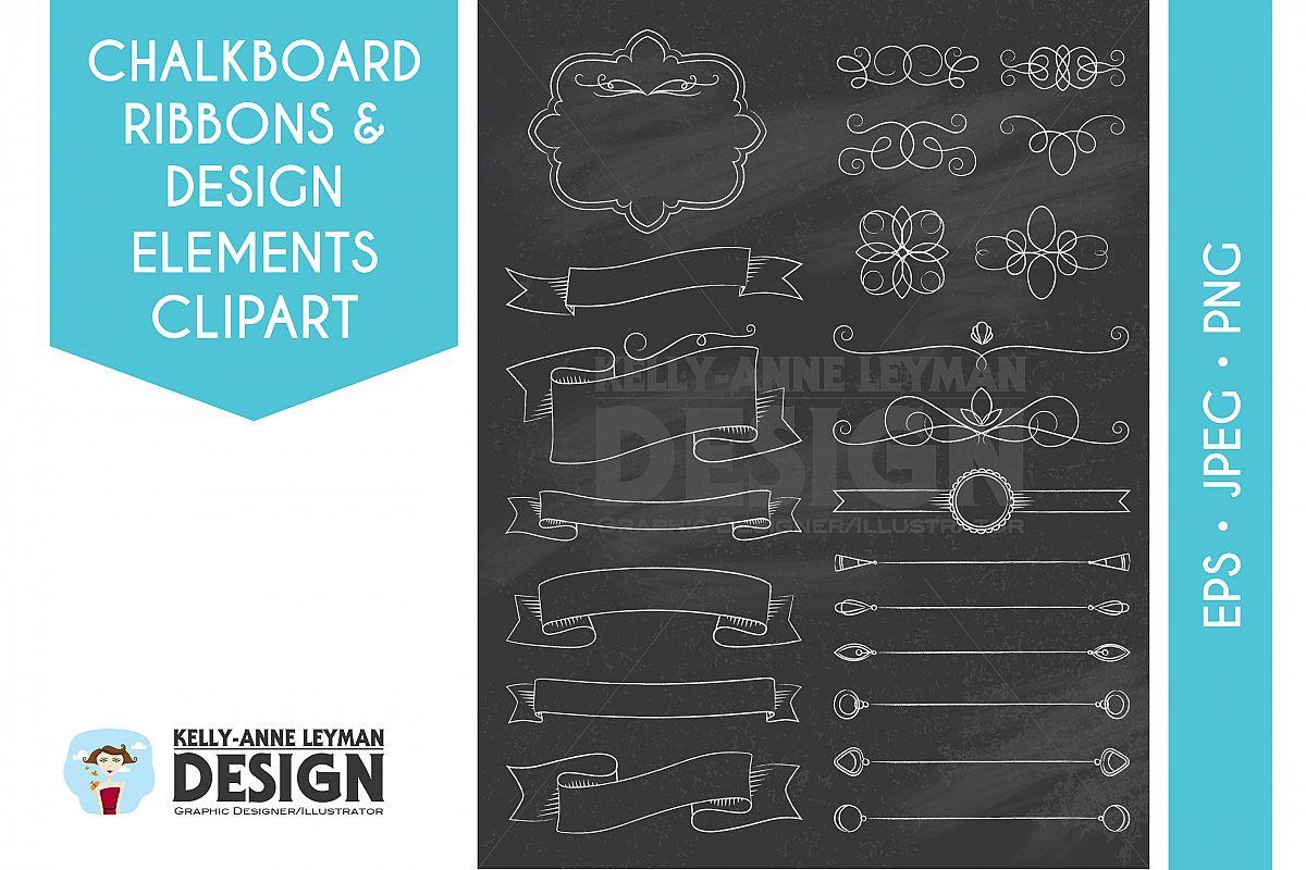 Chalkboard Digital Frames Ribbon Clipart, DIY Invitation example image 1