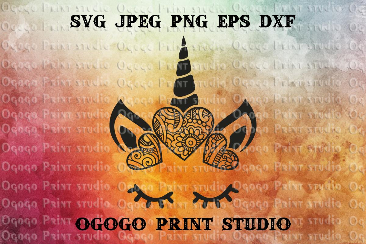 Unicorn SVG, Zentangle SVG, Mandala svg, Animal svg example image 1